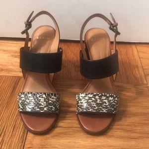 Aerin Open Toe Strappy Sandal Block Heels Size 5